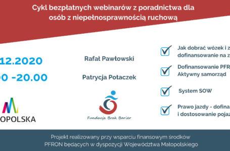 Dziś bezpłatny webinar z cyklu poradnictwa dla osób z niepełnosprawnością ruchową