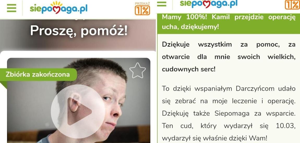 Screen ze zbiórki na rzecz Kamila Stawiarza