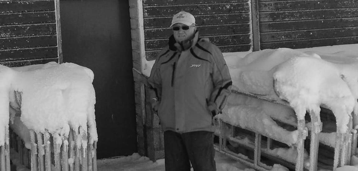 Stanisław Ślęzak podczas zawodów narciarskich