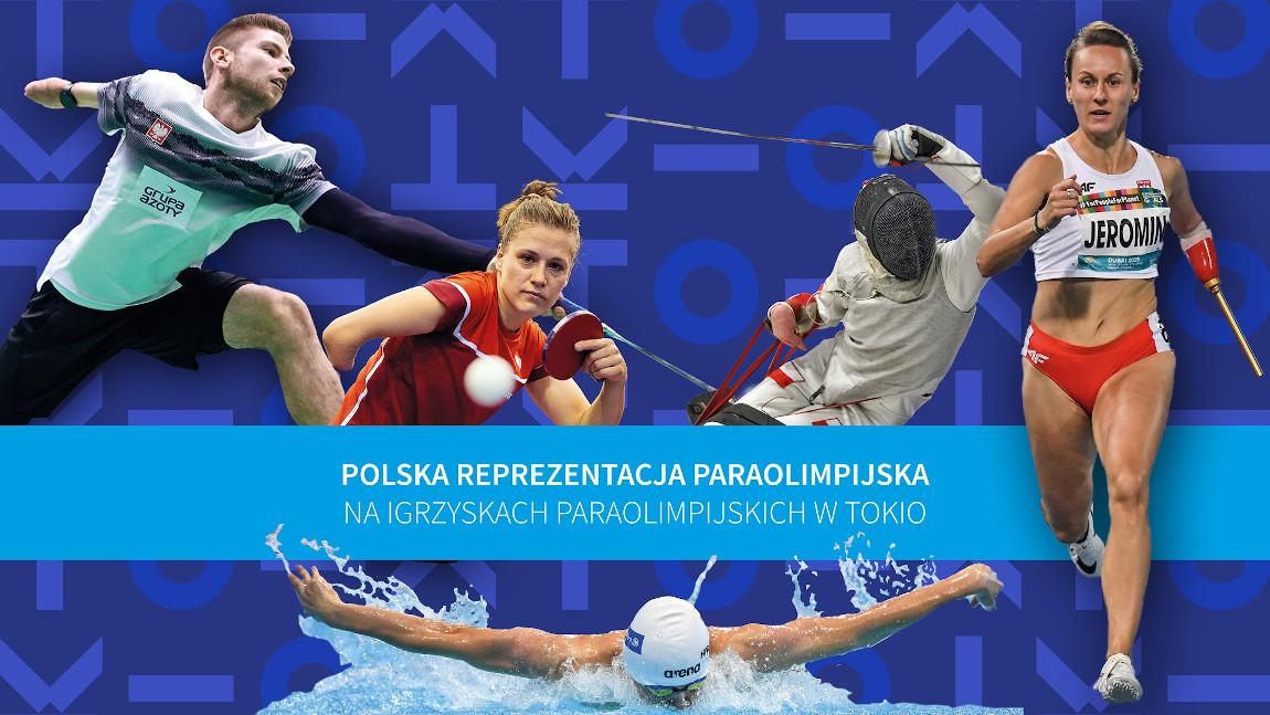 Baner przedstawiający polskich zawodników różnych dyscyplin
