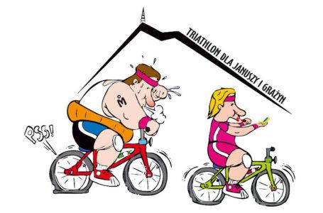 Logo przedstawiające dwóch rowerzystów - otyłego, zmęczonego mężczyznę oraz wypoczętą kobietę, robiącą makijaż na rowerze